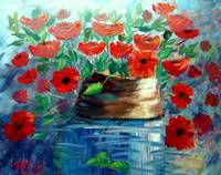 Poppies and a Clay Pot