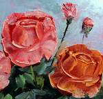 Palette Knife Roses by Mazz Original Paintings