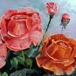 """Palette Knife Roses"" by mazz"