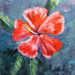 """Red Hibiscus Flower Painting"" by mazz"