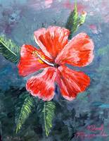 Red Hibiscus Flower Painting