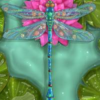Dragonfly and Water Lily Art Prints & Posters by Zdenek Sasek