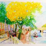 """Paris Bookseller on the Quai"" by Ensrud"