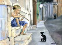 Boy playing flute for cat