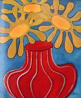 Hello Yellow in a Red Vase