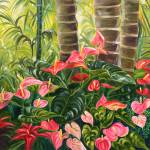 """Tropical Red and Pink Anthurium Jungle"" by JennyFloravita"