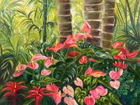 Tropical Red and Pink Anthurium Jungle