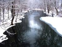 Stream with snow