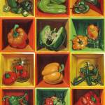 """Boxed Still Life: Peppers set"" by soothedbyrainfall"