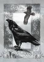 Gothic Victorian Raven Mixed Media