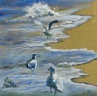 Sea Gulls with Gold Leaf