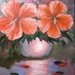 """Hibiscus Flowers in Vase"" by mazz"