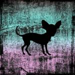 """Chihuahua Silhouette on Miami Vice Grunge"" by SignaturePromos"