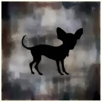 Chihuahua Silhouette on Deep Earthtone Watercolor