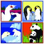 """Animal Mosaic (swan, penguin, polar bear, panda)"" by DezineZone"