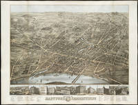 Vintage Pictorial Map of Hartford CT (1877)