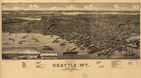 Vintage Pictorial Map of Seattle Washington (1884)