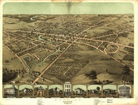 Vintage Pictorial Map of Pontiac Michigan (1867)