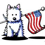 """Patriotic USA Westie"" by KiniArt"