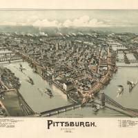 """Vintage Pictorial Map of Pittsburgh PA (1902)"" by Alleycatshirts"