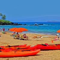 Wailea Kayaks Art Prints & Posters by Don Bloom
