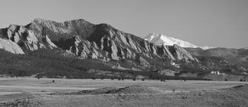 Flatirons and Snow Covered Longs Peak Panorama BW