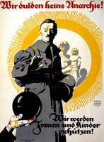 German political poster shows a soldier standing i