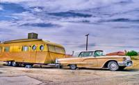 1950s T-Bird and Trailer in California