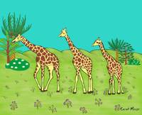 Giraffe's single file to the Left