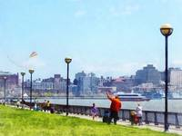 Flying A Kite at Pier A Park Hoboken NJ