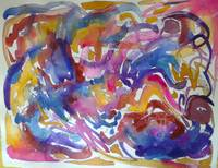 Abstract Watercolor in Hot Pink, Blue, Orange, and