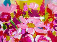 Floral Painting in Hot Pink