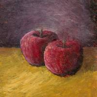 Apple Still Life with Purple and Gold