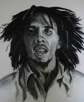 Bob Marley. Charcoal drawing.