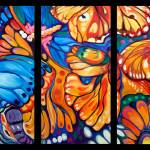 """BUTTERFLY ABSTRACT TRIPTYCH"" by MBaldwinFineArt2006"