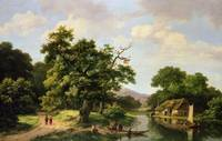 Wooded River Landscape with Peasants Unloading a F