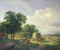 Wooded Landscape with Haymakers, 1822 (oil on canv