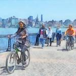 """Bicycling Along Pier A Hoboken NJ"" by susansartgallery"