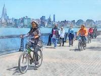 Bicycling Along Pier A Hoboken NJ