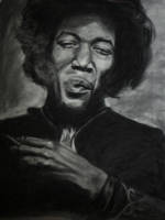 Jimi Hendrix. Charcoal drawing
