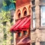"""Hoboken NJ - Red Awnings on Brownstone"" by susansartgallery"
