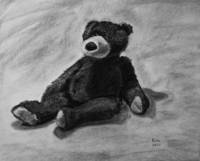 Teddy bear. charcoal drawing