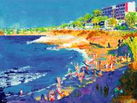 La Jolla Cove Beach watercolor by RD Riccoboni