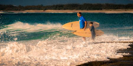 Father and Son Surfers