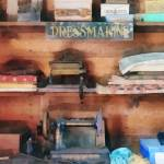 """Dressmaking Supplies and Sewing Machine"" by susansartgallery"