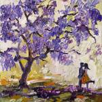 """Love under the Jacaranda Tree Purple Blossoms"" by GinetteCallaway"