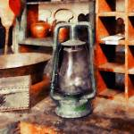 """Green Hurricane Lamp in General Store"" by susansartgallery"