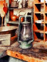 Green Hurricane Lamp in General Store