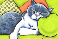 Cozy Bicolor British Shorthair Off-Leash Art™