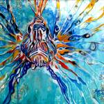 """LION FISH BLUE"" by MBaldwinFineArt2006"